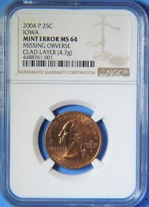 Click now to see the BUY IT NOW Price! 2004 P IOWA STATE QUARTER MISSING OBVERSE CLAD LAYER MINT ERROR NGC MS64 US COIN
