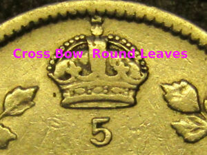 1910 CANADA 5 CENT SILVER  ROUND LEAVES   BOW TIE