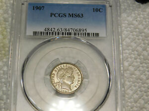 1907 10C BARBER/LIBERTY HEAD DIME CERTIFIED PCGS MS63 SILVER LUSTER
