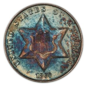 Click now to see the BUY IT NOW Price! 1860 3CS THREE CENT SILVER PCGS MS66