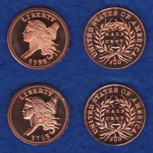 GALLERY MINT MUSEUM TWO 1793 HALF CENTS MATCHED PAIR PROOFS       RETS