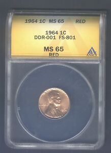 1964P ANACS MS65 RD LINCOLN CENT PENNY FS801 DOUBLE DDR DOUBLED DIE REVERSE