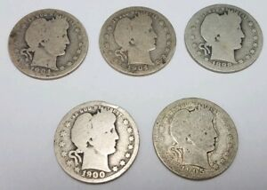 BARGAIN LOT OF 5 BARBER QUARTERS  25  DISCOUNT: 1898 1905
