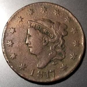 1817 CORONET HEAD LARGE CENT N 14