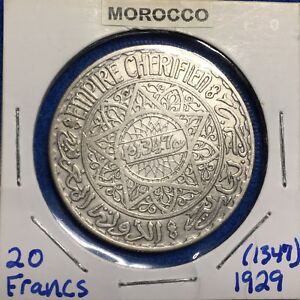 Click now to see the BUY IT NOW Price! AH1347 1928  MOROCCO SILVER 20 FRANCS   KEY DATE CROWN SIZED SILVER COIN