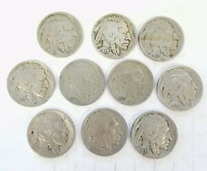 LOT OF 10 VARIOUS UNITED STATES BUFFALO NICKELS FIVE CENT PIECE