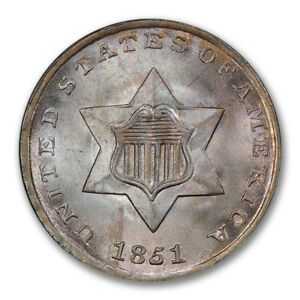 Click now to see the BUY IT NOW Price! 1851 3CS THREE CENT SILVER PCGS MS67   CAC