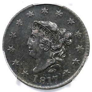 Click now to see the BUY IT NOW Price! 1817 N 7 PCGS AU DETAILS MATRON OR CORONET HEAD LARGE CENT COIN 1C