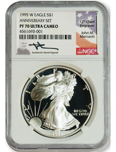 Click now to see the BUY IT NOW Price! 1995 W $1 PROOF SILVER EAGLE NGC PF70 ULTRA CAMEO JOHN MERCANTI SIGNED