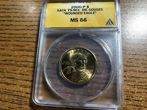 Click now to see the BUY IT NOW Price! 2000 P SACAGAWEA 1$ ANACS MS 66   FS 901   WOUNDED EAGLE