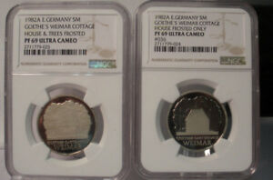 Click now to see the BUY IT NOW Price! 1982 A EAST GERMANY 5 MARK NGC PF69 UCAM GOETHE WEIMAR COTTAGE BOTH TYPES 2 COIN