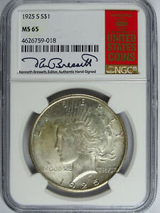 Click now to see the BUY IT NOW Price! 1925 S $1.00 PEACE DOLLAR RED BOOK LABEL NGC MS 65 5217