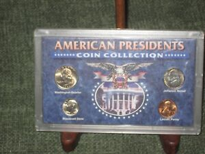 AMERICAN PRESIDENTS COIN COLLECTION MINT PLASTIC CASE 4 COINS: 3  1995 & 1  1970