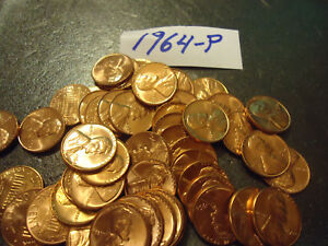1964 P BU ROLL OF PENNIES         > COMBINED SHIPPING <