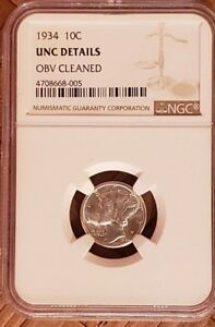1934 SILVER MERCURY DIME NGC GRADED UNC DETAILS OBV CLEANED