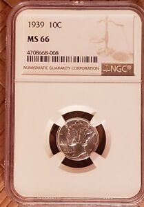 1939 SILVER MERCURY DIME GRADED NGC MS66