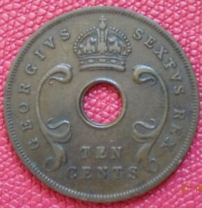 1951  GEORGE VI  EAST AFRICA 10 CENTS COIN       097