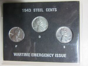1943 US UNCIRCULATED STEEL CENT COLLECTION WARTIME EMERGENCY ISSUE SEALED