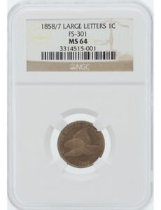 Click now to see the BUY IT NOW Price! 1858/7 1C FLYING EAGLE LARGE LETTERS FS 301 NGC MS64