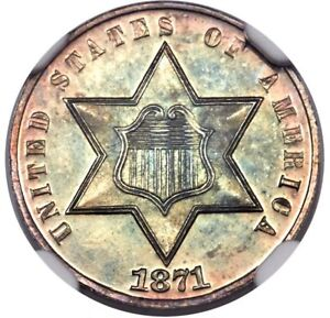 Click now to see the BUY IT NOW Price! US 3 CENT SILVER 1871 NGC PROOF 67 CAMEO CAC EXQUISITE TONING