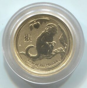 2016 AUSTRALIA YEAR OF THE MONKEY 1/20TH OZ .9999 GOLD   PERTH MINT