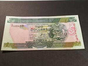 SOLOMON ISLANDS. $2. 2. TWO DOLLAR BANK NOTE. 2004   2006. UNC. MINT. P25..