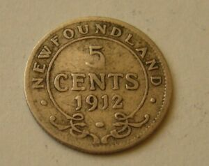 1912 NEWFOUNDLAND 5 CENTS GEORGE V SILVER COIN