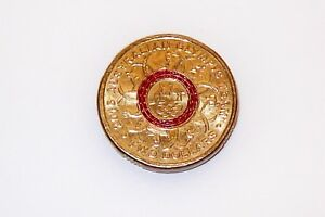 AUSTRALIA $2 OLYMPIC TEAM COIN RED PRINTING FAULT COLOUR