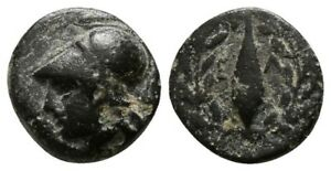 GC461    GREEK   BRONZE   AIOLIS / HELM / 1.14 GR / 10 MM