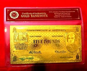 COMMONWEALTH OF AUSTRALIA 5 FIVE POUND PRE DECIMAL BANKNOTE 24K GOLD LTD NOTE