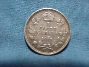 1907 CANADAIN  5 FIVE CENTS .925 SILVER