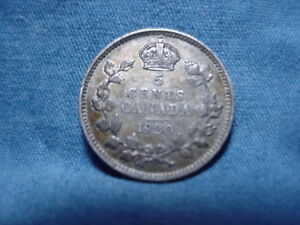 1920 CANADAIN  5 FIVE CENTS .800 SILVER