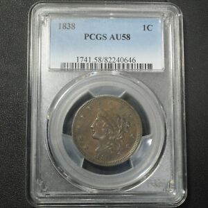 Click now to see the BUY IT NOW Price! 1838 CORONET MATRON HEAD COPPER LARGE CENT PCGS AU 58