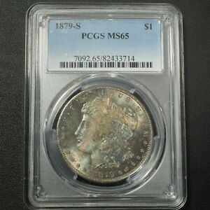 Click now to see the BUY IT NOW Price! 1879 S MORGAN SILVER DOLLAR PCGS MS 65   TONING