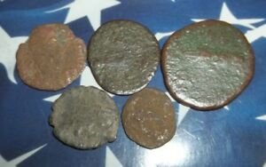ANCIENT ROMAN AE COINS FOLLIS 1/2 INCH 4  GRAMS   LOT OF 5X ANCIENT  COINS