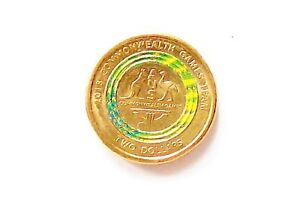 AUSTRALIA $2 COMMONWEALTH TEAM GAMES GREEN COIN EXCELLENT CONDITION