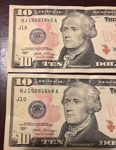 $10 US NOTES WITH CONSECUTIVE DATES SERIAL NUMBERS. NJ 10/09/1642 & 48 A