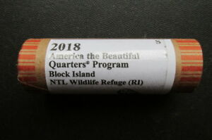 2018 S BLOCK ISLAND WILDLIFE REFUGE ATB UNCIRCULATED QUARTER: 40 COIN ROLL ID RD