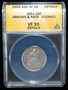 1853 25C ARROWS & RAYS ANACS VF30 DETAILS  CLEANED . MEDIUM GREY COLOR. 0119184