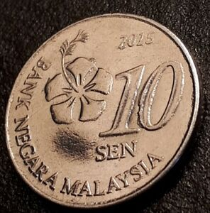MALAYSIA 10 SEN 2015 ERROR ETRA METAL OF CENTER  CIR.
