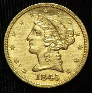 1845  5 DOLLAR  LIBERTY GOLD COIN  NO MOTTO   AU