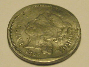1865 THREE CENT NICKEL PIECE DAMAGED