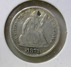 1871 U.S. HALF DIME .900 SILVER IMPERFECTIONS
