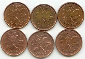 Canada 1994 1995 1996 1997 1998 1999 One Cent Canadian Pennies Penny 1c Set