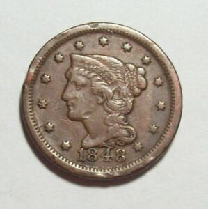 1848 BRAIDED HAIR LARGE CENT  VF WITH RIM DINGS  GOOD PICS