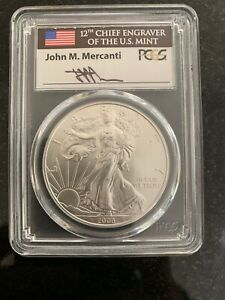 2008 W BURNISHED SILVER EAGLE PCGS SP70 REVERSE OF 2007 MERCANTI FIRST STRIKE