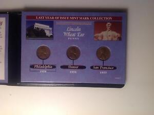 FIRST & LAST COLLECTION IN PLASTIC CASE   LAST YEAR MINT MARK LINCOLN WHEAT CENT