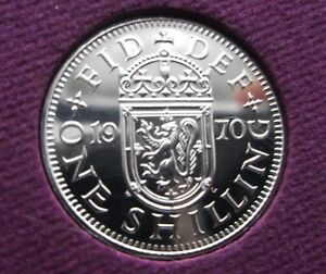 LAST ISSUE 1970 SCOT SHILLING COIN NOT RELEASED. LOW MINTAGE OF PROOFS TONED 0.K