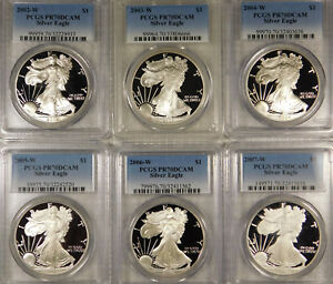 2002 2007 W PROOF SILVER EAGLE PCGS PR70DCAM FLAWLESS SHARP GROUP