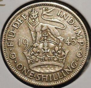 BRITISH SILVER SHILLING   1945 E   KING GEORGE VI   $1 UNLIMITED SHIPPING